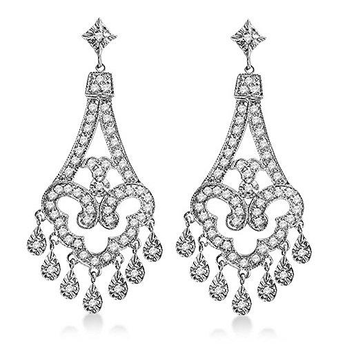 (Dangling Chandelier Diamond Earrings 14K White Gold (1.08ct))