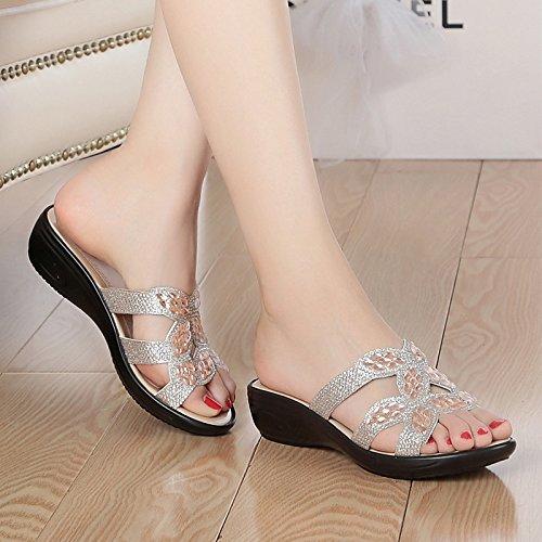 pendenza Qingchunhuangtang le pantofole e Argento sandali Raffreddare di nU7UwxBYq