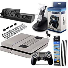 SQDeal PS4 Accessories Bundle 4 in 1 Pack, Cooling Fan + Dust Prevention Cover Case Mesh Jack Stopper Pack Kits + Skin Decals Cover + Dual Charging Station for PS4 Playstation 4 Console and Controller