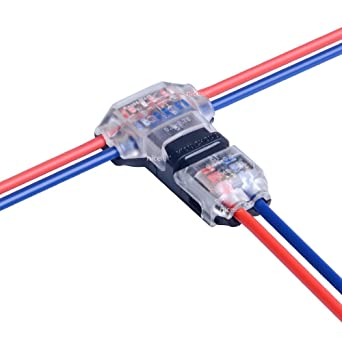 2 Pin T Connector for 22/20/18 AWG Wiring, Max DC/AC 300V 10A, IDC Self  Stripping, T Tap Wire Splicer to Connect Branches to Main Wire, Car, LED  Lighting, Video/Audio, and More, ClearAmazon.com