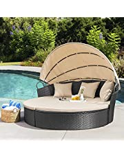 Homall Outdoor Patio Round Daybed with Retractable Canopy Wicker Furniture Sectional Seating with Washable Cushions for Patio Backyard Porch Pool Patio Daybed Separated Seating