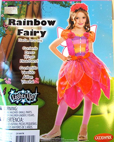 Rainbow Fairy Pink Orange Light-Up Child Costume Wings Headband 10-12 NIP -