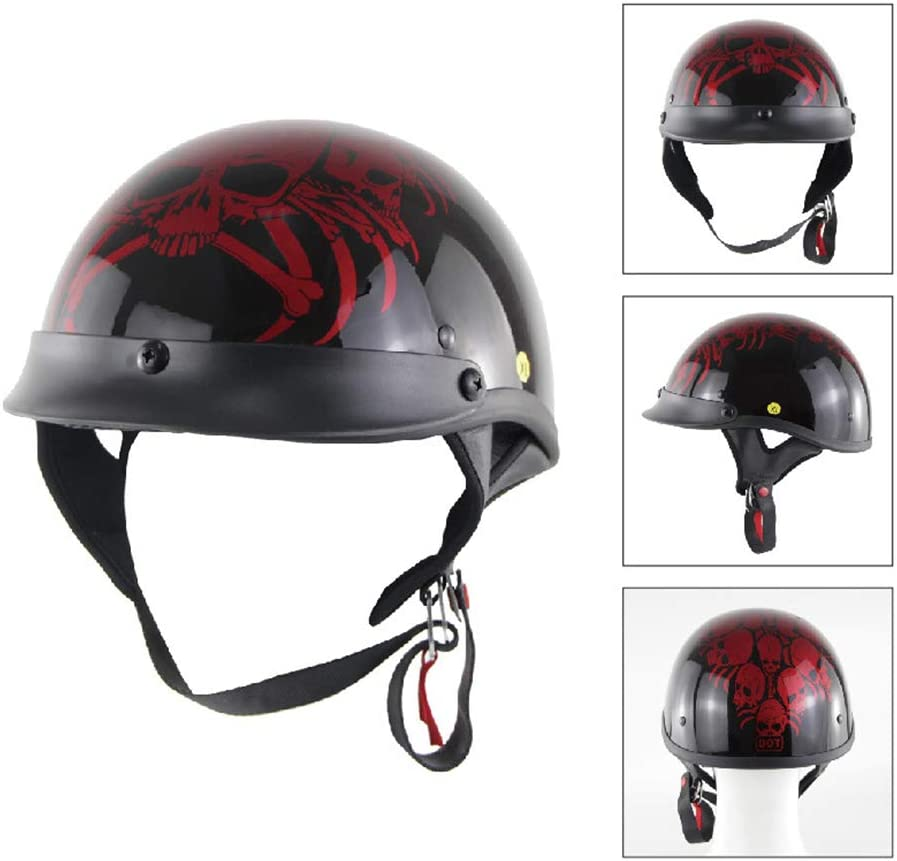 Harley Motorrad Helm offenes Gesicht Retro Beanie HalbHelm Jugend M/änner und Frauen DOT Zertifiziert Cruiser Pilot Fahrrad Harley Halb Helm schwarz,M