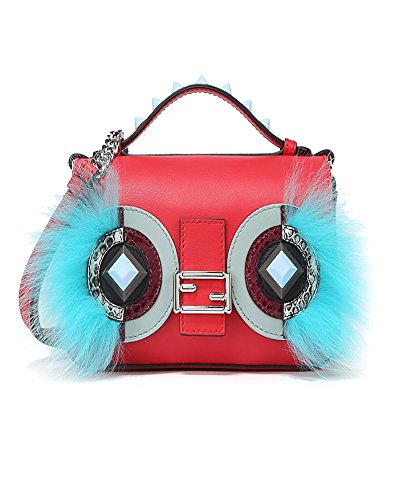 Bag Red Fendi (Fendi Women's 8M03719f9f08si-Mcf Blue/Red Leather Shoulder Bag)