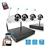 GXA Home Business Video Security Camera System,with 4 PCS 720P Bullet HD IP Cameras Waterproof Day&Night CMOS 100ft(30M)+1PCS 4CH NVR Kit Support Smartphone Remote view Bulit in 2TB HDD