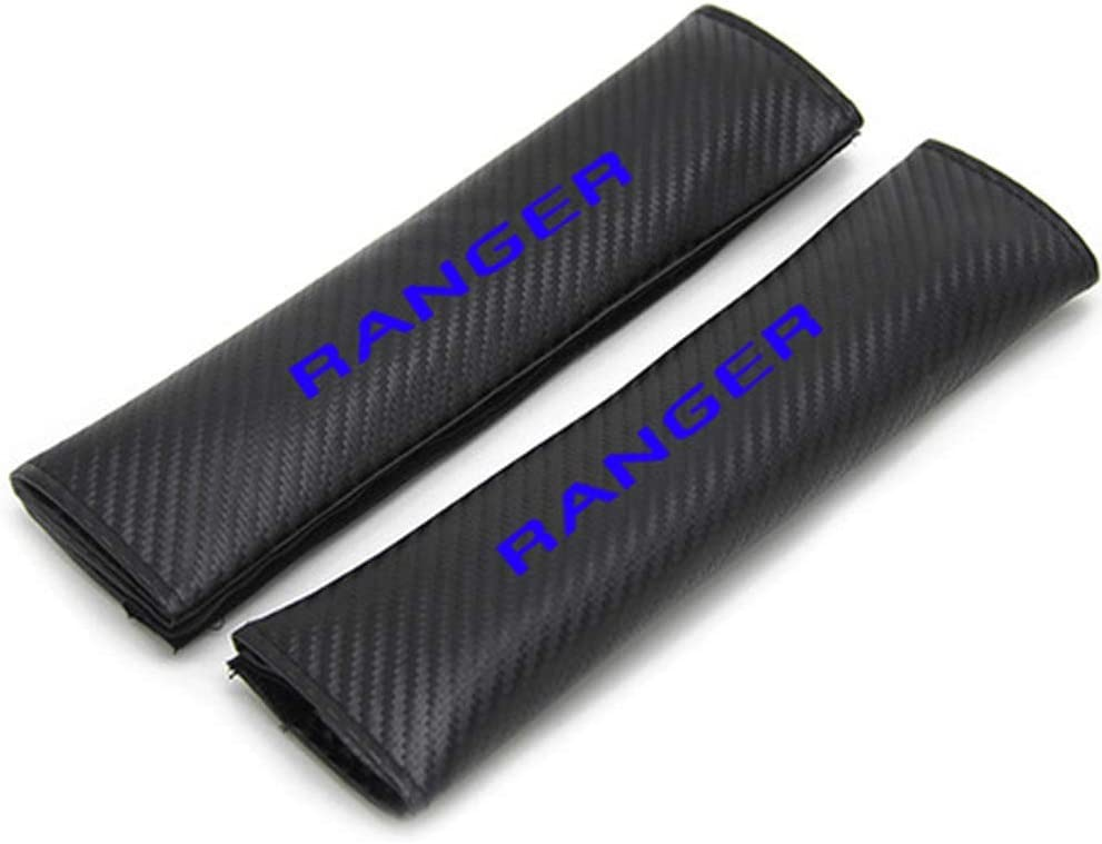 TYMDL 2Pack Car Carbon Fibre Seat Belt Shoulder Cover Pads for Ford Ranger All Models Auto Sports Racing Style Breathable Cushion Accessories