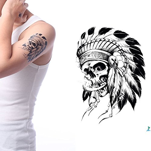 Yeeech Temporary Tattoos Sticker Indian Feather Skull Tribal Series Old Traditional Designs Black Waterproof (Using Old Dance Costumes For Halloween)