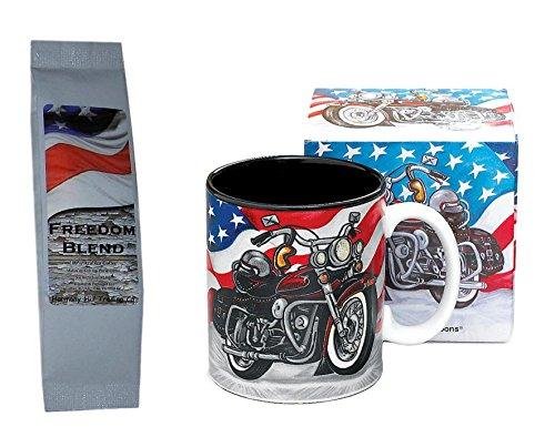 American Flag Motorcycle Mug with Freedom Blend Coffee Gift Set 2 Item Bundle