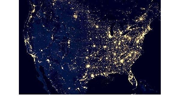 Map Of Usa At Night.Amazon Com Home Comforts Laminated Poster Sky City Lights Night Usa