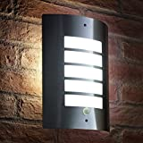 Auraglow Stainless Steel Energy Saving Motion Activated PIR Sensor Outdoor Security Wall Light - Silver - Cool White
