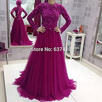 2016 Elegant Purple Long Sleeve Evening Dresses Prom Dress Hijab with Lace Appliques and Sequins Longos