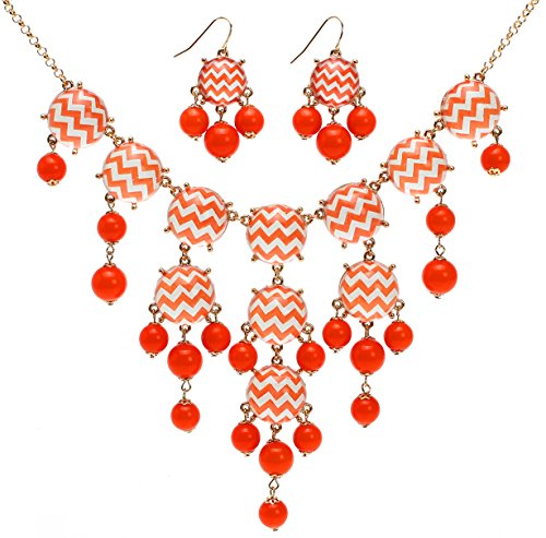 Lova Jewelry Electric Wave Necklace and Earrings Set (Orange) by Lova Jewery