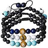 Be Here Now Unisex Adjustable Lava Rock, Essential Oils Diffuser, Chakra Stone, Crystal Bead, Anxiety Bracelet (x 3) for Women Men Kids – Lapis Lazuli, Blue & White Howlite. Gift Boxed, Satin Bag.