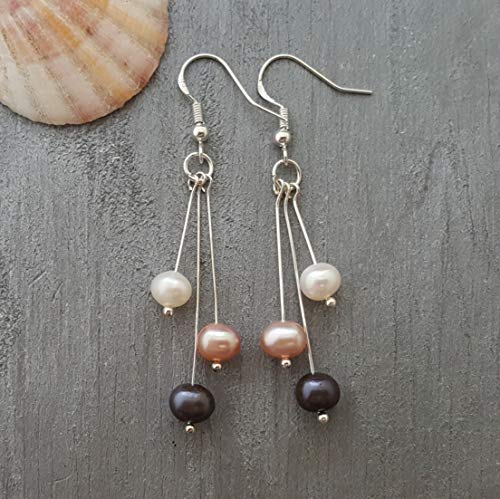 Handmade in Hawaii, Triple color Natural Pearl Earrings,