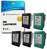 Printing Pleasure 5 XL (2 SETS + 1 BLACK) Remanufactured Ink Cartridges Replacement for HP 350XL 351XL Photosmart C4280 C4380 C4480 C4485 C4580 C5280 Deskjet D4260 D4360 - Black/Colour, High Capacity