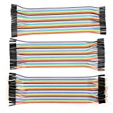 VKmaker 120pcs Multicolored 40pin Male to Female, 40pin Male to Male, 40pin Female to Female Breadboard Jumper Wires Ribbon Cables Kit