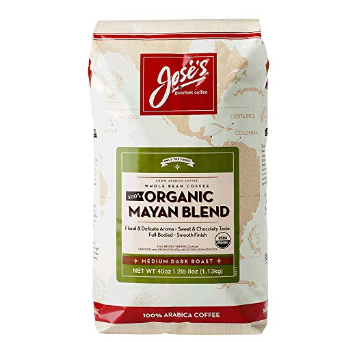 Jose's Whole Bean Coffee, 2lb 8 oz/40 oz 100% Certified USDA Organic Mayan Blend 100% Arabica Coffee