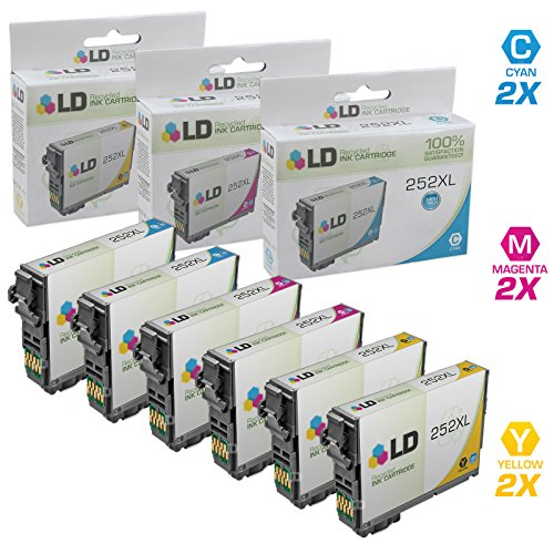 LD Products Remanufactured Ink Cartridge Replacement for Epson 252 ( Cyan,Magenta,Yellow , 6-Pack )