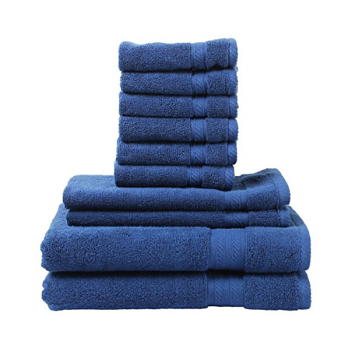 FreshFromLoom Premium Quality Ring Spun Cotton Towels Set, Super Soft, Plush, Machine Washable and Highly Absorbent Towels, Pack of 10 (2 Bath Towels, 2 Hand Towels, 6 Wash Clothes), Blue