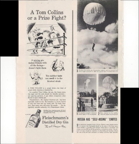 Fleischmann's Distilled Dry Gin The Real American Mixer A Tom Collins Or A Prize Fight? 1937 Antique Advertisement