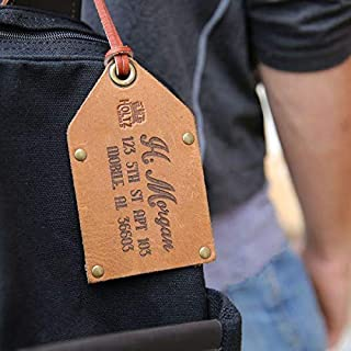product image for The Traveler Fine Leather Luggage Tag in Tan