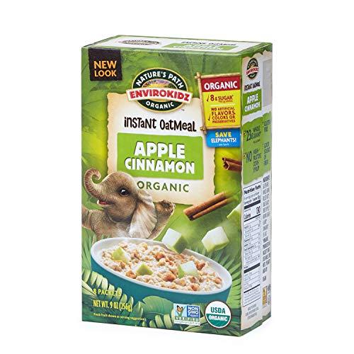 Nature's Path EnviroKidz Apple Cinnamon Instant Hot Oatmeal, Healthy, Organic, Gluten-Free, 9 Ounce Box (6 -
