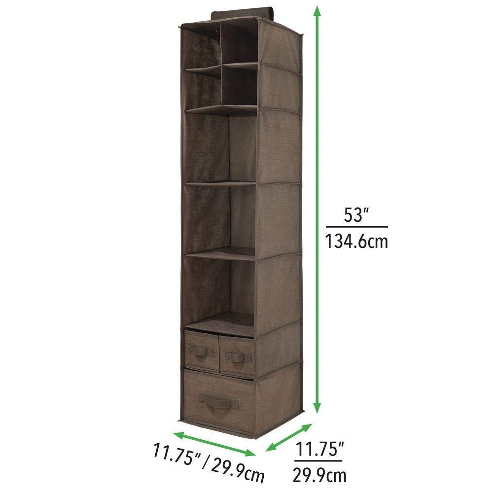 Charcoal Gray//Black MetroDecor 07593MDCO T Shirts Lingerie mDesign Soft Fabric Over Closet Rod Hanging Storage Organizer with 7 Shelves and 3 Removable Drawers for Clothes 2 Pack Leggings Textured Print