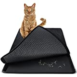 "Paws & Pals Cat Litter Mat 30"" x 23"" Inch Jumbo Large Size Non Slip Litter Trap Pad Litter Boxes - Black"