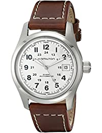 Men's HML-H70455553 Khaki Field Stainless Steel Automatic Watch with Brown Leather Band
