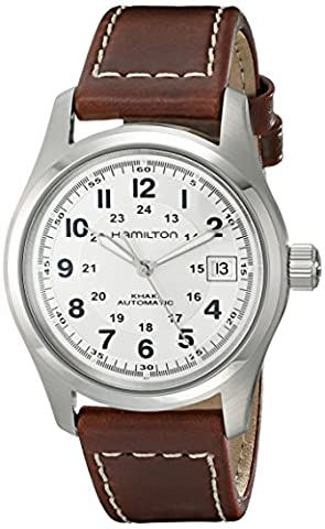 Hamilton Men's HML-H70455553 Khaki Field Stainless Steel Automatic Watch with Brown Leather Band (Hamilton Khaki Field Automatic)