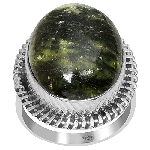 Orchid Jewelry 17.8 Ctw Natural Oval Green Galaxy Jasper 925 Sterling Silver Ring For Women - A Birthstone Gemstone-A Beautiful, Dainty Design in Silver Ideal As A Unique Gift For - Silver Ring Jasper Adjustable Sterling
