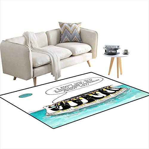 (Area Rugs for Bedroom Cartoon About Penguins Resemblance 4'x10')