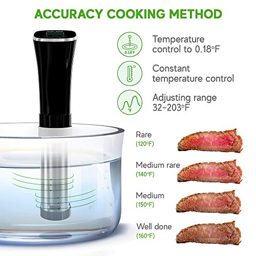MALAHA Sous Vide Machine 1000W - Immersion Circulator - Professional Precision Cooker - Sous Vide Vacuum Heater - Accurate Temperature Digital Timer - Ultra Quiet Working Cooker by Malaha (Image #2)'