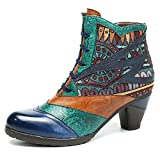 Socofy Block Heel Ankle Booties, Women's Bohemian Splicing Pattern Side Zipper High Block Heel Ankle Leather Boots Dark Blue 9 B(M) US