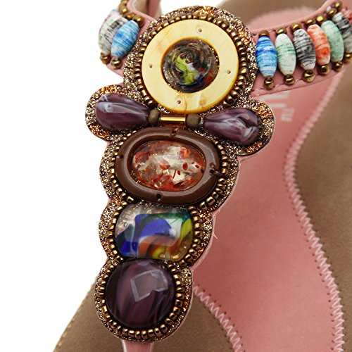 Strap Coin T Bohemian Pink Thong Flat Release Beads Women's Beach Sandals New Shoes PADGENE Summer Slingback R4Yq8x