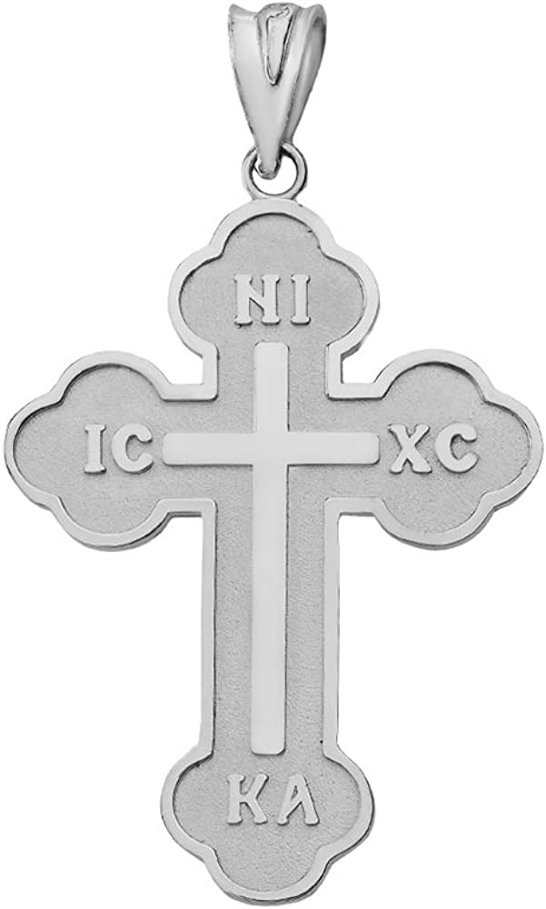 Best Designer Jewelry Sterling Silver Polished Black Enamel Budded Cross Pendant