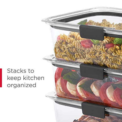 Rubbermaid Leak-Proof Brilliance Food Storage Set, 1.3 Cup Plastic Containers with Lids, Microwave and Dishwasher Safe, 5-Pack, Clear