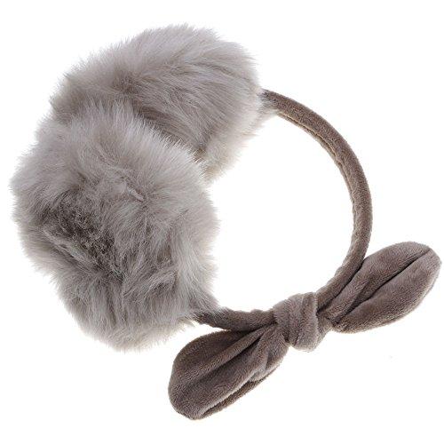 hiver chaud douce fourrure de lapin cache-oreilles joli noeud papillon kaki