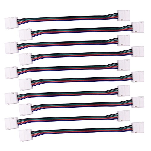 (TronicsPros 4 Pin 10mm LED Connector for Waterproof 5050 LED Strip Light RGB LED Strip Connector Jumper- 17cm/ 6.7 inch Long(10 Packs, Waterproof)