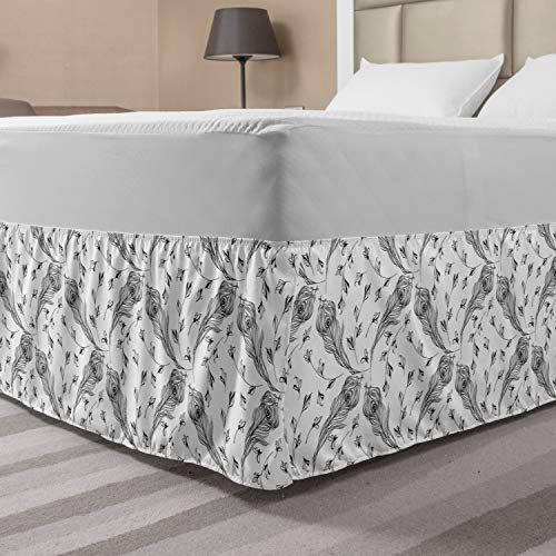 Lunarable Feather Bed Skirt, Hand Drawn Peacock Plumage Pattern Ethnic Bohemian Style Exotic Nature Theme, Elastic Bedskirt Dust Ruffle Wrap Around for Bedding Decor, Queen, Grey and White