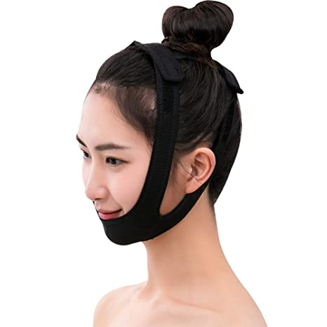 Banda para la cara delgada - Mascarilla para dormir de estiramiento facial con vendaje para cara