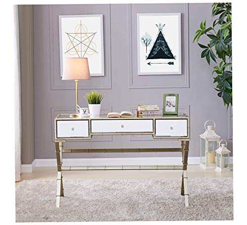 - Wood & Style Furniture Lienz Hollywood Regency Mirrored Console Table, Metallic Premium Office Home Durable Strong