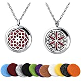 Long Way Essential Oil Diffuser Necklace with 316L Stainless Steel Chain + Refill Pads (2pcs)