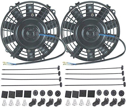 "Price comparison product image American Volt 12V Electric Radiator Cooling Fan Reversible High Performance Thermo Cooler Best CFM (6"" Inch,  Dual Fan)"