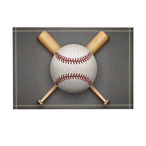 NYMB Sports Decor, baseball Leather Ball and Wooden Bats Bath Rugs, Non-Slip Doormat Floor Entryways Indoor Front Door Mat, Kids Bath Mat, 15.7x23.6in, Bathroom Accessories -