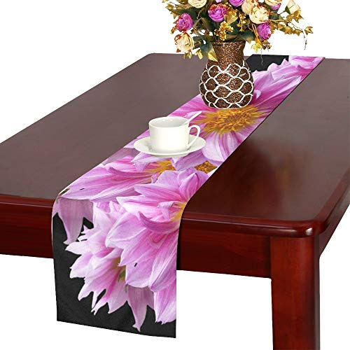 Dahlias Autumn Pink Purple Pink Flower Table Runner, Kitchen Dining Table Runner 16 X 72 Inch For Dinner Parties, Events, Decor]()