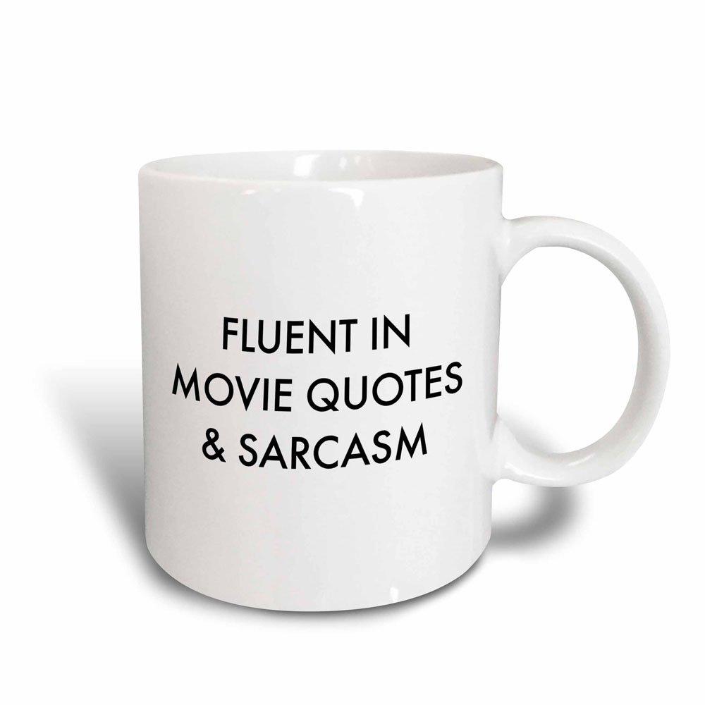 3dRose Fluent In Movie Quotes And Sarcasm Mug, 11 oz