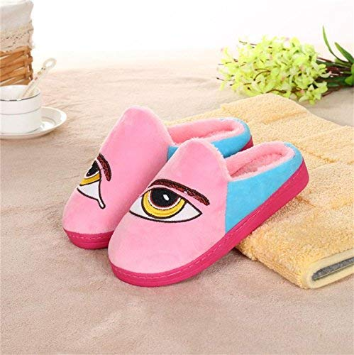 Pink JaHGDU Ladies Casual Wool Slippers are Warm in Autumn and Winter Leather Slippers bluee Pink pink Red for Women