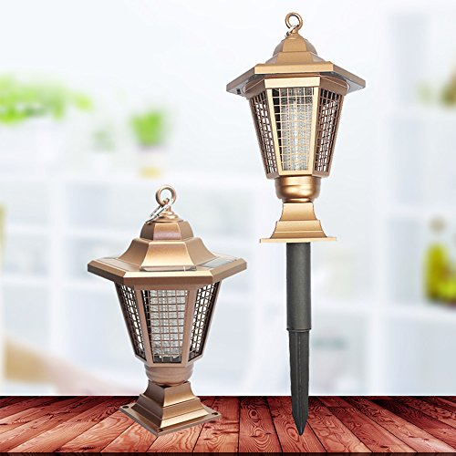 Solar Power Zapper Enhanced Outdoor Mosquitoes/Moths/Flies Insect Killer Hang or Stake in the Ground Cordless Garden Light 0.2w by Carole4