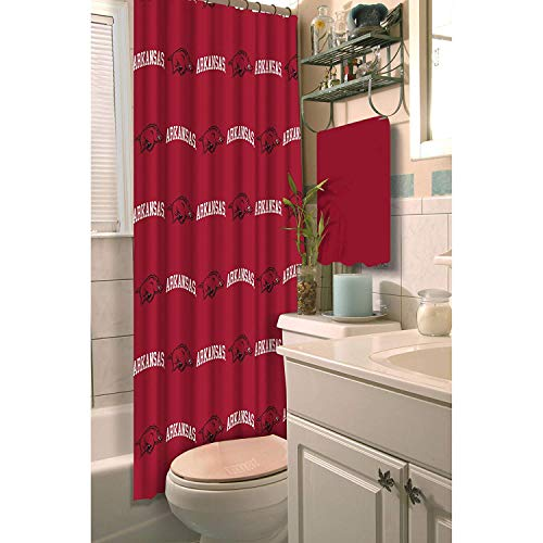 TN 1 Piece Red White Razorbacks Shower Curtain 72x72 Inch, Football Themed Bathroom Decoration Team Logo Fan Merchandise Athletic Team Spirit Fan Bath Decor, Decorative Bath Collection Polyester